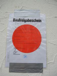 Der rote Punkt - Unsere Baugenehmigung ist da!